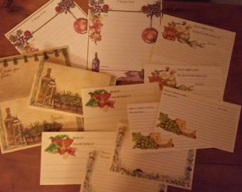 Vintage Recipe Cards Collection ~ 70's Current Italian Theme 12 Piece Set ~ Cooking Journals ~ Recipe Box
