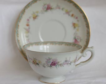 Vintage Cherry China Tea Cup / Demitasse and Saucer Made in Occupied Japan; Pink, Red, Yellow and Orange Flowers