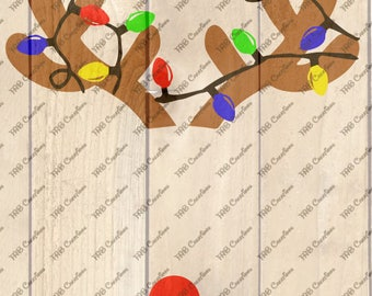 Reindeer Antlers with Christmas Lights - .svg .png .dfx .eps