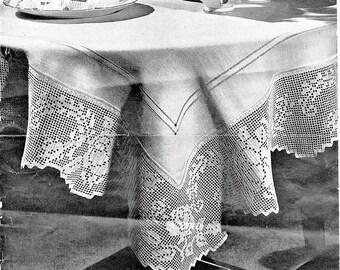 PDF Filet Crochet Pattern,Roses And Leaves Tableclth,Towel, Bedlinen Edging