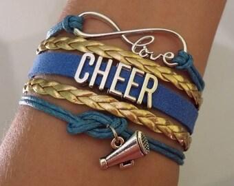 Cheer bracelet, Cheerleader gift, Cheer Mom jewelry, Cheer Coach gift, Megaphone charm, Cheer Team, Infinity cheer bracelet, Bleu/gold