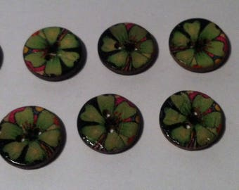 Set of 10 wooden buttons for sewing or scrapbooking nature theme 3 cm