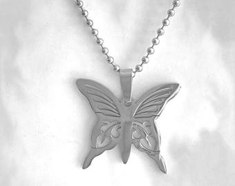 "Stainless Steel Butterfly Pendant on 24"" Steel Ball-Chain Necklace in Velvet Gift Pouch"