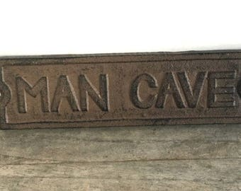 "Large Rustic Solid Cast-Iron ""MAN CAVE"" Wall Sign"