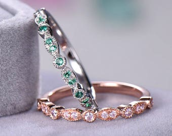 Green Pink CZ Diamond Wedding Ring Set 925 Sterling Silver White Rose Gold Art Deco Half Eternity Engagement Ring Bridal Sets Promise Women