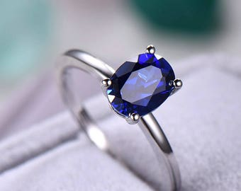 Sapphire engagement ring Solitaire Stacking band oval sterling silver white/rose/yellow gold plated aquamarine garnet morganite.