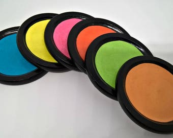 Multi coloured wooden coasters x6