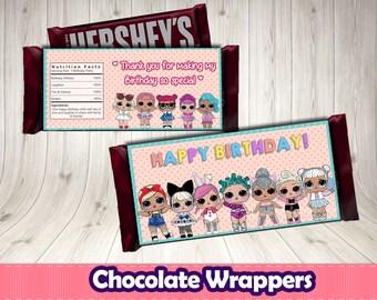 Lol surprise chocolate wrappers. Lol digital printable.Lol birthday party.Lol decoration.Lol surprise food.Lol surprise buffet.Lol Hershey's