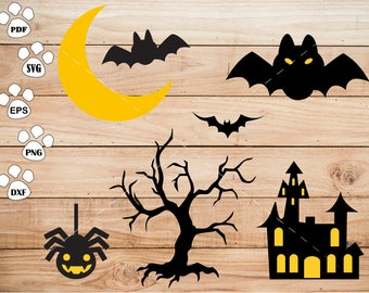 Halloween Bat svg Files,  spider svg, House svg, Moon svg, Tree Clipart, cricut, cameo, silhouette cut files commercial use