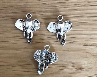 Tibetan Silver Antique Silver Tone Elephant Pendant Charm 28mm x 23mm