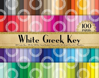 "100 Seamless White Greek Key Pattern Papers in 12"", 100 Greek Papers, Planner Paper, Commercial Use, Rainbow Paper, 100 Digital Paper"
