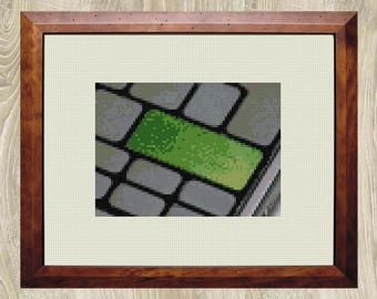 GO GREEN KEYBOARD cross stitch pattern Tech gift Environmental wall art decor Gift for him Green Gray Black