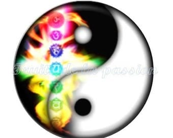 Set of 2 cabochon 20mm vintage Yin Yang, multicolored, round glass
