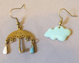 Umbrella and cloud earrings