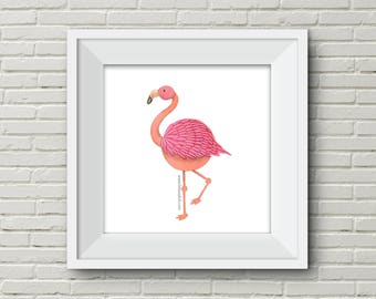 Downloadable Wall Art Modern Prints Animal Printable Nursery Art Printflamingo bird elephant Owl pink salmon grey illustration cute