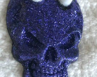 Purple glitter white horned skull punk metal car sticker decal