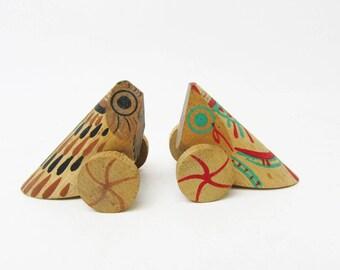Small pair Uzuraguruma(Quail).Vintage wooden craft.local folk craft.Local toys.1960s.#fa44