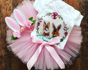 Bunny tutu set, Easter bunny outfit, pink tutu and bunny ears, Birthday and Cake smash outfit, extra fluffy tutu