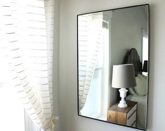 Large Modern Wall Mirror Bathroom Vanity Decorative Industrial Rectangle  Steel Framed Frameless Metal Black White Steel