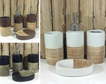 set of 4 two tone bathroom accessory lotion dispenser toothbrush holder cup soap dish 3 colours