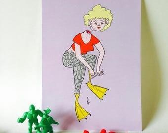 Duck Girl Monster 5x7