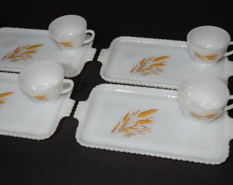 FIRE KING, Snack Tray Set, Golden Wheat, Milk Glass, Serving Tray Set, Teacup Tray Set, Gold harvest wheat, Vintage Fire King, 8pc, 1960s