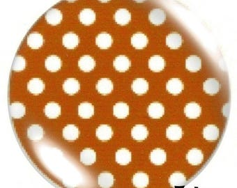 1 cabochon 30mm glass, red polka dots