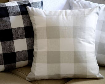 NEUTRAL | GRAY | Geometric Pillow Cover.Decorator Pillow Cover.Home Decor.Premier Prints Anderson Check French Grey.Cushions.Cushion.Pillow.
