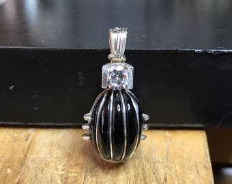 Wrapped Black Onyx and Cubic Zirconia