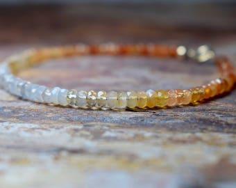 Mexican Fire Opal Bracelet, Ombre Opal & 14k Gold Filled Bracelet, October Birthstone, Handmade Jewelry, Multicolour Bracelet, Gift for Wife