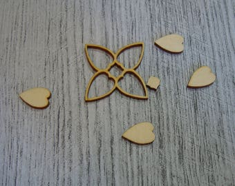 Flowers and their hearts set of 2 1395 embellishment wooden creations