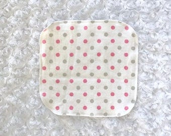 Baby girl wash cloths; pink polkadot wipes; pink baby wash cloths; baby girl reusable wipes; pink and grey nursery; pink and grey baby