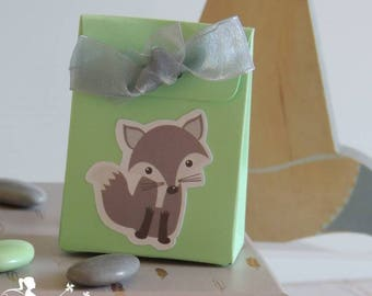 10 boxes with dragees green mint - grey Fox and gray Ribbon