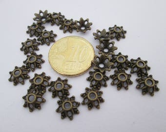Lot de 25 coupelles fleur en métal bronze 9 mm