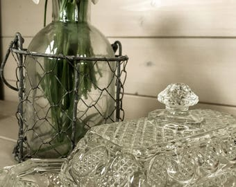 Vintage 1950s glass butter dish