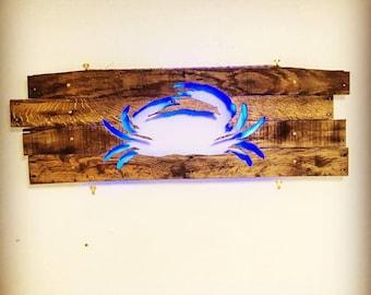 Crab Cutout - Repurposed Pallets & LED Lights