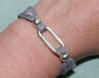 Bracelet star spacer and grey Kit child silver metal
