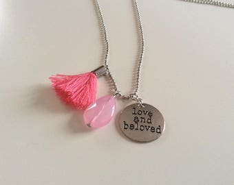 """Necklace """"love and beloved""""silver and pink"""