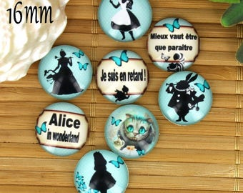 Set of 8 16mm glass cabochons, fairy tale, Alice ZC33