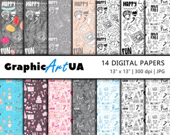Birthday Digital Paper Pack, Birthday Background, Seamless pattern, Instant Download, Scrapbooking, Scrapbook Paper, Pink Background