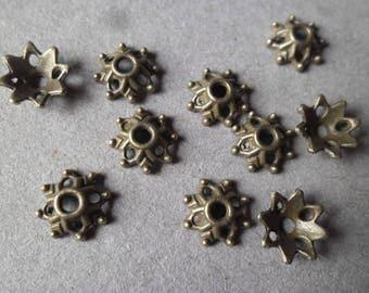 x 30 pearls flower shaped openwork bronze 8 x 3 mm (10/16)