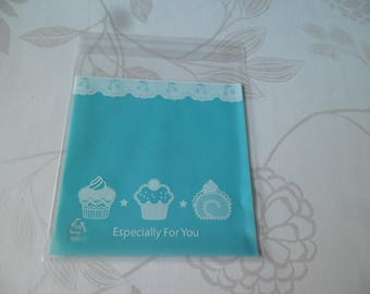 x 10 blue adhesive bags/pouch/bag for cake/candy white patterned plastic 14 x 10 cm