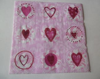 1 napkin background pink and white with hearts 33 x 33 cm