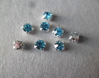 x 10 rhinestones sewing Silver 5 mm blue glass crystal on claw