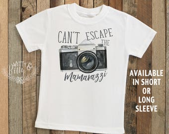 Can't Escape The Mamarazzi Camera Kids Shirt, Funny Kids Shirt, Cute Kids Tee, Mom Jokes Tee, Boho Kids Shirt - T276C