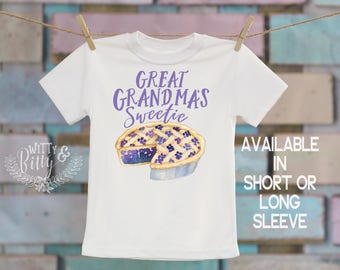 Great Grandma's Sweetie Pie Kids Shirt, Food Theme Shirt, Gifts from Grandma, Cute Kids Shirt, Funny Kids Tee, Boho Kids Shirt - T348G