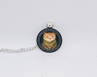 Pompous Ginger Cat Pendant / Judging Cat Pendant