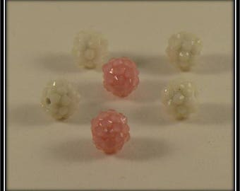 set of 6 white and pink 12mm shamballa beads