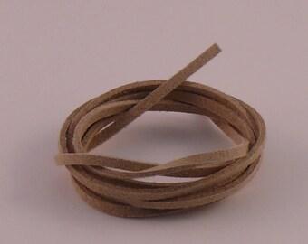 3mm x 1.5 mm beige suede cord