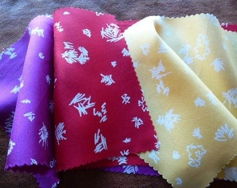 fabric cut vintage silk satin for accessories creations in sewing or scrapbooking set of 3 colors